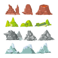 Hills and mountains cartoon vector set. Hill nature, element for landscape outdoor, rock snow illustration