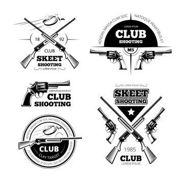 Vintage gun club labels, logos, emblems set. Badge and gun, weapon rifle, vector illustration