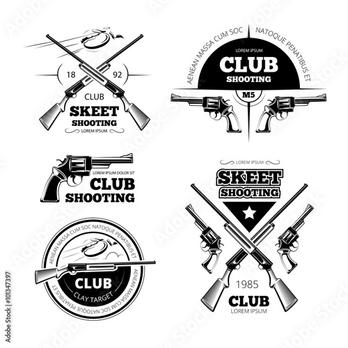 quotvintage gun club labels logos emblems set badge and