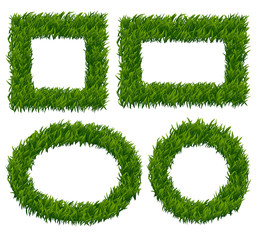 Wall Mural - Green grass frames vector set. Nature plant, herb pattern, eco growth border illustration