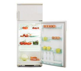 Open Refrigerator Full Of Fresh And Healthy Food
