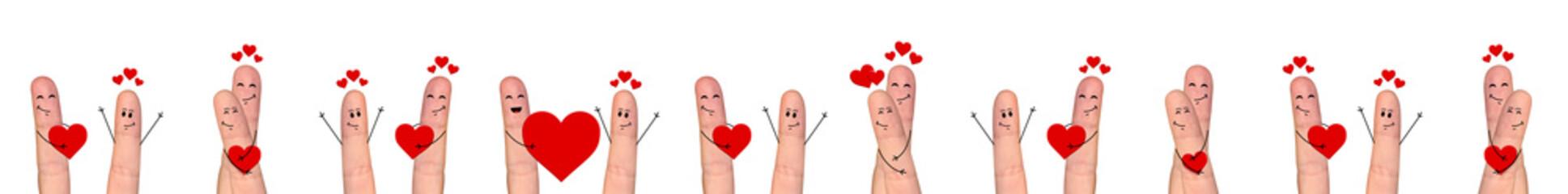 Happy finger couple in love celebrating Valentine day