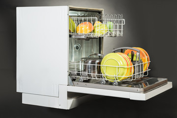 Dishwasher Isolated Over Gray Background
