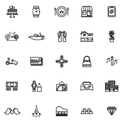 Birthday gift line icons on white background
