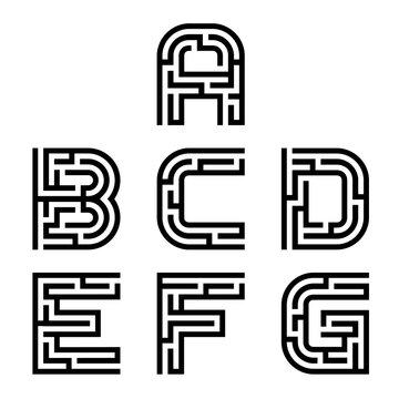 vector real maze alphabet font letters - part 1