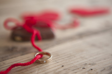 Saint Valentine chocolate and ring
