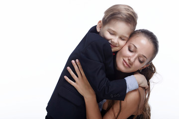 Mother and son in the studio.