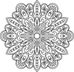 Abstract vector black round lace design in mono line style - man