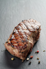 beef steak from entrecote part on slate board
