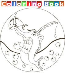 cartoon swordfish  coloring book