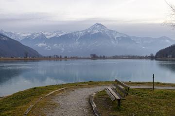 lone bench at Descio, Italy