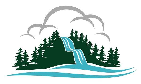 Waterfall Landscape Logo