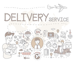Logistic sketch concept with transportation and shipping commerce decorative