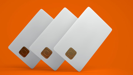 White credit card on orange background