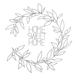 Home sweet home, hand drawn inspirational floral graphic