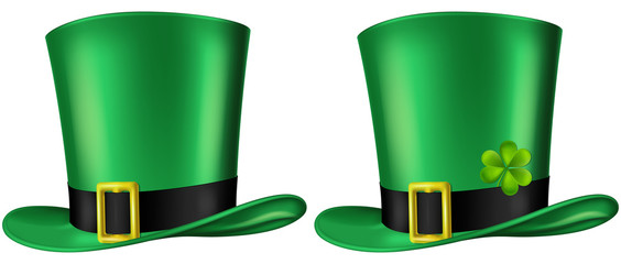 Green Leprechaun's hat, three quarter view. St. Patrick's day design element, vector illustration. Two versions included - with and without a shamrock leaf.