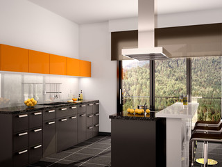 3d illustration of modern black and orange kitchen interior with