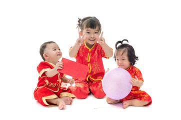 Cute Asian baby boy and girl in traditional Chinese suit Isolate
