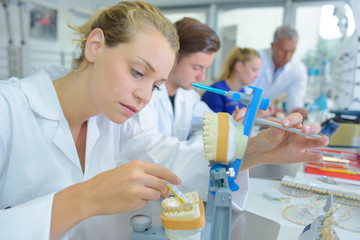 Female lab technician working on dentures