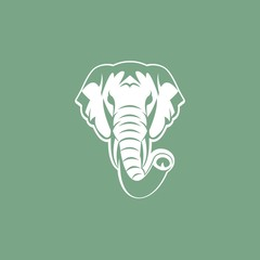 Elephant head silhouette Design. Vector Illustration