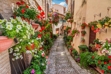 Street in small town in Italy in sunny day, Umbria