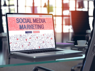 Laptop Screen with Social Media Marketing Concept.