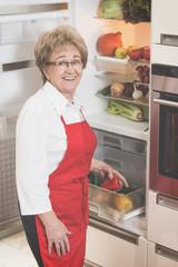 Senior Woman and her new Refrigorator