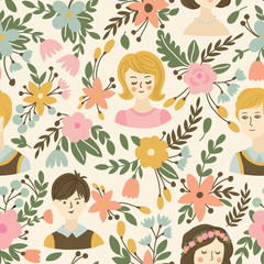 Wedding seamless pattern with flowers, bride and groom