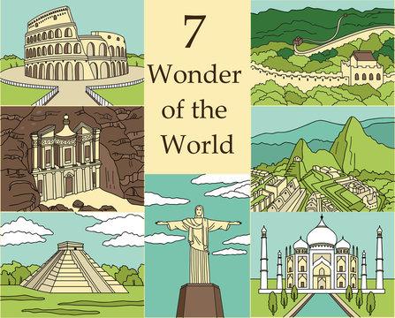 7 Wonders of the World: Colosseum, Great Wall, Machu Picchu, Petra, Taj Mahal, Cristo Redentor, El Castillo. Vector illustration