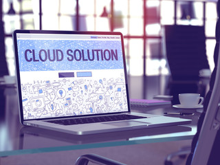 Cloud Solution on Laptop in Modern Workplace Background.