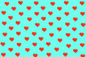 Pattern with red hearts on blue background