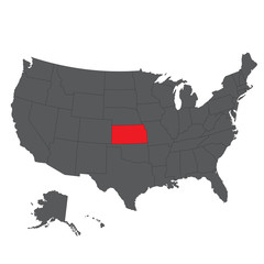 Kansas red map on gray USA map vector