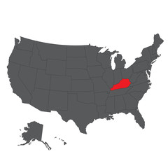 Kentucky red map on gray USA map vector