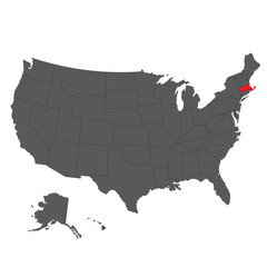 Massachusetts red map on gray USA map vector