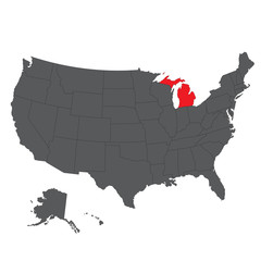 Michigan red map on gray USA map vector