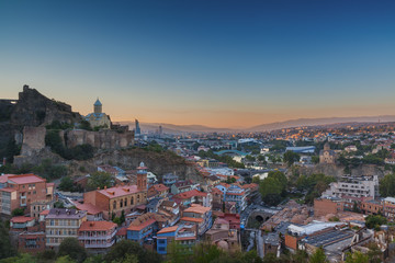 Evening view of Tbilisi from Narikala Fortress