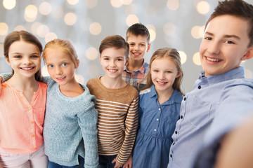 happy children talking selfie