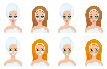 set girl's face spa treatments of beauty white and green mask for the area under the eyes a towel and a bandage on his head and a redhead brunette, isolated vector flat for circuits and instructions