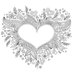 Coloring page flower heart St Valentine's day