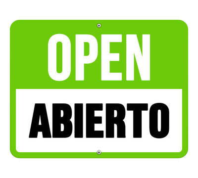 Abierto sign in black and green