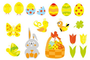 Easter elements collection with Easter eggs, basket, cute bunny , tulip, chick  / vectors  set for children