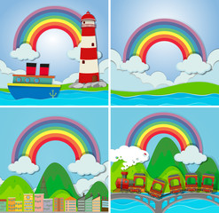 Four scenes with rainbow