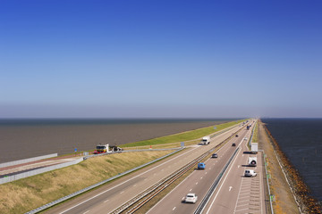 The 'Afsluitdijk' dike in The Netherlands