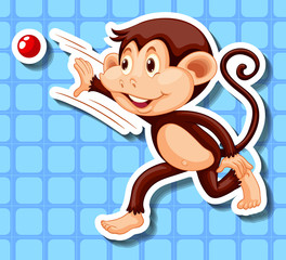Little monkey throwing red ball