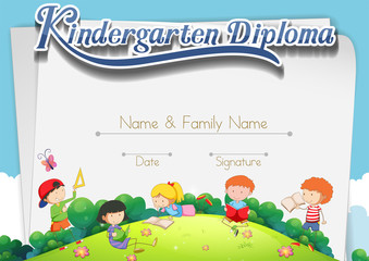 Certification template with children in the park