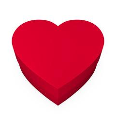 Heart box, red color Caja con forma de corazón, color rojo