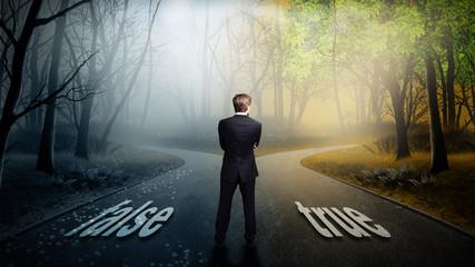 Geschäftsmann hat die Wahl zwischen false und true