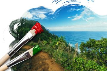 Gemälde von der Na Pali Küste auf Kaua'i, Hawai'i