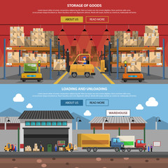 Warehouse Horizontal Banner Set