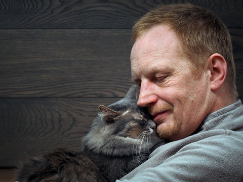 Portrait of a man with a cat. Large man's face and muzzle cat. The man closed his eyes, the cat pressed against the man's chin. Male red-haired, gray cat. Man and cat
